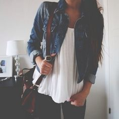 Black Jeans + White Top + Jean Jacket #Outfit