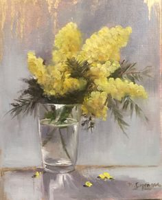 Mimosa, oil on linen by Brigitte Cazenave ,french artist .