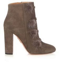 Aquazzura Ulyana suede ankle boots (47.640 RUB) ❤ liked on Polyvore featuring shoes, boots, ankle booties, grey suede bootie, suede boots, suede booties, strappy ankle boots and gray booties
