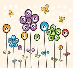 Vector Background and Vector Graphic Doodle Art, Doodle Drawings, Cute Drawings, Simple Flowers, Colorful Flowers, Happy Flowers, Art Fantaisiste, Quilt Modernen, Posca Art