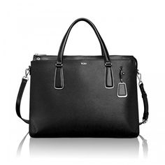 """Tumi Sinclair Nina Commuter Brief in Black - The Tumi Sinclair Nina Commuter Briefcase is crafted from a refined, lightweight textured coated canvas and highlighted with leather trim. This chic laptop bag features a padded 15"""" computer sleeve and plenty of pockets to stow away essentials for your work week commute."""