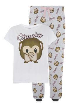 Primark - Pyjamaset aus Jersey mit Affen-Emoji