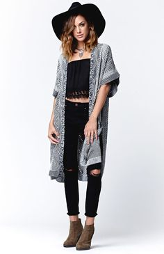 Hooked on Short Sleeve Cardigan Poncho that I found on the PacSun App