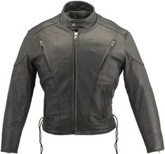 Mens Vented Leather Racing Jacket | $427.00 | The Vented Racing Leather Jacket, one our best selling jacket, joins our list of satisfied customers. This jacket is made of 1.6-1.8(4-4 1/2oz.) soft premium cowhide Naked Leather. What makes this jacket one the best sellers? Front and Rear Vents with heavy mesh liner for full ventilation - Too big or too small - adjust Laced Sides, Too Hot - remove Thinsulate Liner. The two Outside Pockets are Zippered and Leather Lined. The two Inside Gun…