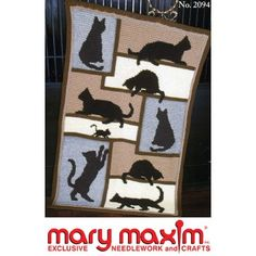 Mary Maxim - Cat Silhouette Afghan Pattern - Afghan Patterns - Patterns - Patterns & Books