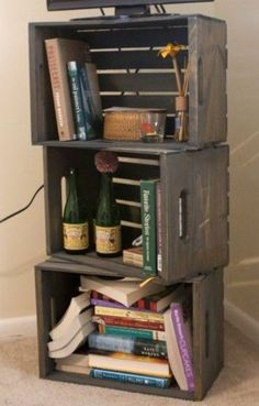 Wooden Crate Bookcase. i can use my new crate i bought :) yay!