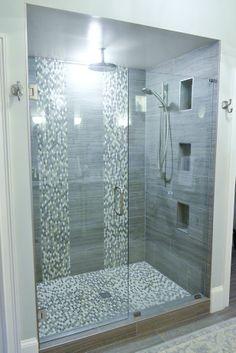 Private Quarters: Builder bathroom redo in Marietta Bathroom Remodel Pictures, Restroom Remodel, Shower Remodel, Bathroom Tile Designs, Bathroom Design Luxury, Modern Bathroom Design, Master Bathroom Shower, Dyi Bathroom, Small Bathroom With Shower