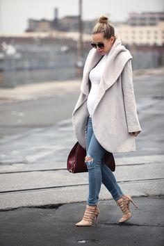6 Month Pregnancy Update via BrooklynBlonde.com / @Helena Glazer Coat: Tahari 'Marla'   Turtleneck: Club Monaco   Denim: Citizens of Humanity Maternity   Shoes: Aquazzura   Sunglasses: Prada Monday, December 28, 2015