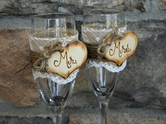 Mr. & Mrs. Glasses Champagne Flutes Rustic Woodland Shabby Chic