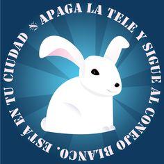 Campaña pegatinas conejo blanco. Me quedó avispao el conejo. Casi inquietante ¿no?