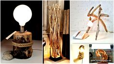 Fascinating decors can be crafted out of their resource, beautiful and inexpensive DIY wood lamp designs can be materialized out of twigs and branches without sacrificing the entire leaving creature. Table Lamp Wood, Wooden Lamp, Wooden Diy, Diy Wood Wall, Diy Wall Art, Wood Art, Diy Floor Lamp, Diy Pendant Light, Diy Light Fixtures