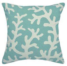 Coral Linen Pillow - Aqua Blue