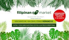 """Ampliamos hasta el 31 de agosto nuestra promoción con el CÓDIGO DESCUENTO """"VERANO10"""", para que puedas tener un 10% de descuento en cualquiera de los productos de nuestro catálogo 😋😋😋  Visita nuestra web y disfruta de los mejores productos gourmet filipinos y de todo el mundo con un fabuloso descuento.  #FilipinanMarket #gourmet #nuestrosproductos #descuentoveranodiez #agosto Movie Posters, Gourmet, World, August 31, Products, Get Well Soon, Hipster Stuff, Film Poster, Film Posters"""