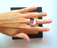 Geometric ring, Geometric jewelry, Leather ring by TheFormaClay on Etsy