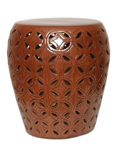 Large Lattice Copper Glaze Ceramic Garden Stool www.finegardenproducts.com