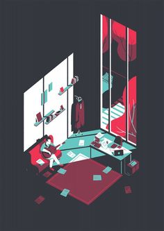 """""""Paris, France illustrator Tom Haugomat a group of strong sense of space-style graphic illustrations"""""""