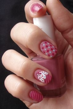 cupcake dot stripe nails