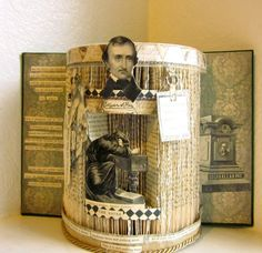 Edgar Allen Poe Altered Book 1900,  macabre book autopsy Shrine, Alter, The Raven