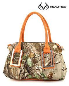#New Realtree Camo Tote Handbag w/ Top Orange Handle.