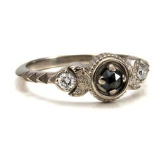 Attention, anyone considering proposing to me: This is the ring! {Moon Phase Engagement Ring - Black Rose Cut Diamonds and White Diamonds - 14k Palladium White Gold  This cute little ring is made of solid 14k}