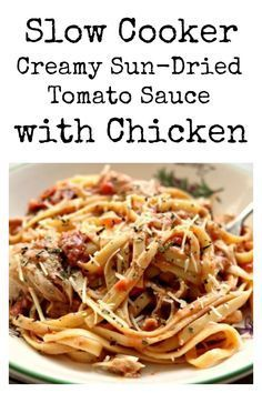 Slow Cooker Chicken and Creamy Sun-Dried Tomato Sauce–tender bites of chicken with a bold and rich basil, parmesan and sun-dried tomato sauce. #slowcooker #crockpot