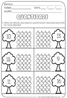 Counting Worksheets For Kindergarten, Fall Preschool Activities, Numbers Preschool, Homeschool Kindergarten, Free Preschool, Kindergarten Writing, Worksheets For Kids, Math Coloring Worksheets, Cvc Word Families