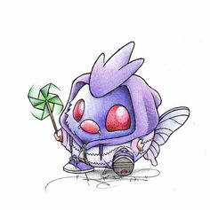 """When I grow up"" Venonat in a Venomoth onsesie"
