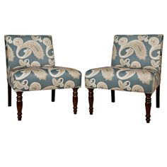 angelo:HOME Bradstreet Feathered Paisley French Blue Upholstered Armless Chair (Set of 2) | Overstock™ Shopping - Great Deals on ANGELOHOME Living Room Chairs