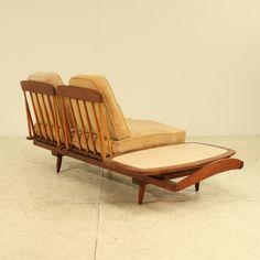 Phillip Lloyd Powell; Walnut, Hickory and Marble Sofa, 1955.