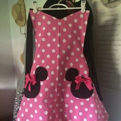 Items similar to Minnie Mouse Apron, Party Apron, Womens Apron that is Reversible on Etsy Minnie Mouse, Wine Christmas Gifts, Waitress Apron, Cute Aprons, Mickey Head, Party Props, Little Girl Dresses, Etsy, Trending Outfits