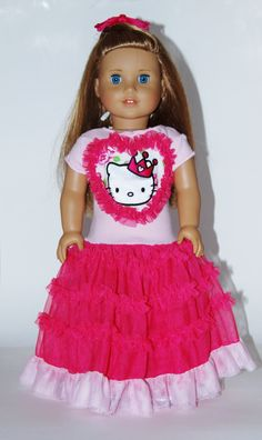 Hello Kitty Gown for 18 Dolls or American by sugarpopdollclothes, $18.00