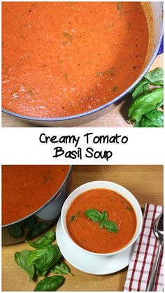 Creamy Tomato Basil Soup - This is a must have cold weather recipe. by Don't Sweat The Recipe Creamy Tomato Basil Soup - This is a must have cold weather recipe. by Don't Sweat The Recipe Vegetarian Recipes, Cooking Recipes, Healthy Recipes, Healthy Soups, Vegan Meals, Creamy Tomato Basil Soup, Tomato Basil Soup Crockpot, Quick Tomato Soup, Tomato Basil Bisque