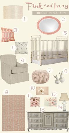 Pink Ivory Nursery for a little girl @elise mayes @ in-the-cornerin-the-corner