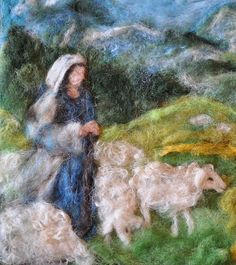 Needle felted wool picture-Shepherds-Waldorf inspired | Flickr - Photo Sharing!