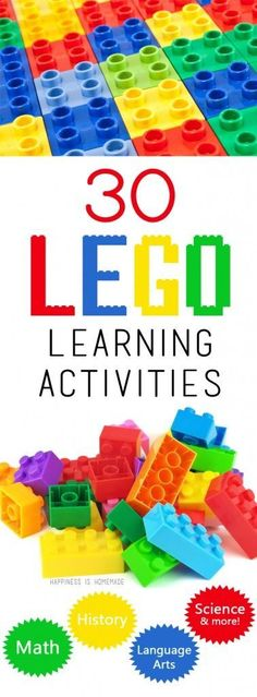 Because we have no shortage of legos/megablocks. This round of up 30 educational LEGO learning activities shows that there are LOTS of different ways to use Legos for math, reading, language arts, history, science and more! Lego Duplo, Lego Math, Lego Ninjago, Learning Tips, Learning Games, Kids Learning, Mobile Learning, Learning Logo, Learning Quotes