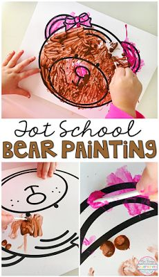 Develop fine motor skills with this bear painting activity perfect for tot school, preschool, or the kindergarten classroom.