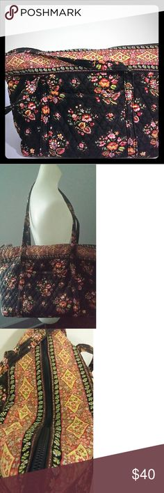 Vera Bradley XL tote zip bag floral brown shoulder Vera Bradley Retired Chocolate Villager Tote Bag Quilted Shopper  EXTRA LARGE -  See measurements in details. Roomy - Carry - On , Diaper Bag, Overnighter, Beach It can be your everything bag.  Retired bag - Floral print Brown mauve yellow, green, blue  Zip top closure, 2 shoulder straps, 2 exterior pockets & 6 inner pockets Sturdy bottom Very good pre-owned condition  No stains, holes, tears etc See pictures. They are a part of the official…