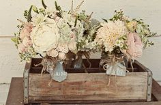 LOOOVE these neutral soft flowers in this crate!!! #crate #decor fillers