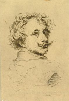 Portrait of Anthony van Dyck, head and shoulders; bust directed to the right, head slightly turned to face the viewer; after a self-portrait Etching Gian Lorenzo Bernini, Anthony Van Dyck, Art Folder, Head & Shoulders, Caravaggio, Chiaroscuro, British Museum, Painters, Belgium