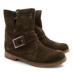Women's low boots italian suede leather hand crafted - Italian Boutique €170