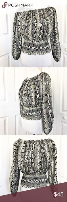 """Michael Kors Blouse Gorgeous faux snakeskin blouse by Michael Kors.  Can be worn as shown or off the shoulder.  Top is made of 100% silk.  Measurements laid flat: bust 17"""", waist unstretched 12"""", and length 18"""".  EUC! Michael Kors Tops Blouses"""