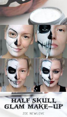 Simple Half Skull Glam Make-up Halloween Make-up Half Skeleton Makeup, Skeleton Makeup Tutorial, Half Skull Makeup, Half Skull Face Paint, Skeleton Face, Halloween Makeup Looks, Up Halloween, Halloween Skull Makeup, Terrifying Halloween