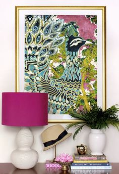 I like this idea for above my (hopefully) new piano...statement art and cute lamp with a stack of music and I like the idea of a plant!