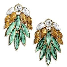 Amazon.com: Dramatic Antique Gold Tone Green & Brown Marquis Crystal Fan Drop Earrings: Jewelry