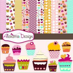 Sweet colorful cupcake set perfect for your craft projects, invitations, cards, parties, etc.