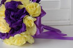 Purple,Yellow Wedding Bridal Bouquet.(Corsage,Boutonniere Centerpiece Available)