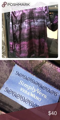 By Simply Vera👍🏼Long Sleeve occasional🌺 Long Sleeve Beautiful Pattern Shinny Material as seen in picture 💗Size 10 Med 💗96% Spandex 💗 Tops Tees - Long Sleeve