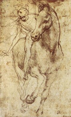 """Leonardo da Vinci -Study of Horse and Rider,1481.  """"I watched as the Lamb opened the first of the seven seals. Then I heard one of the four living creatures say in a voice like thunder, """"Come and see!"""" I looked, and there before me was a white horse! Its rider held a bow, and he was given a crown, and he rode out as a conqueror bent on conquest.""""— Revelation 6:1-2˄ NIV #LeonardodaVinci"""