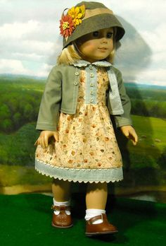Autumn Dress, Jacket and Hat for 18 inch Girls American Girl Dress, American Girl Crafts, American Doll Clothes, Ag Doll Clothes, Doll Clothes Patterns, Doll Patterns, American Dolls, Clothing Patterns, Ag Clothing