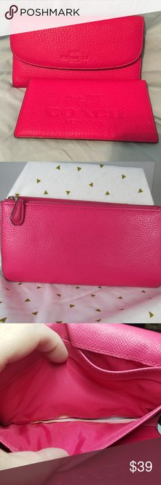Coach Magenta Pebbled Leather Wallet F52715 Almost new, I purchased it and only after several months of it just sitting here, I realized there was a tear in the lining.  See the third picture for the tear. It's behind where the driver license goes, so it doesn't get in the way. I don't know how to fix it, otherwise I would.  Otherwise in amazing condition.  Includes the checkbook cover. coach Bags Wallets